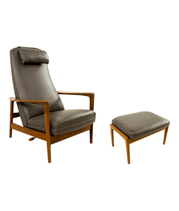 Folke Ohlsson for DUX Danish Reclining Lounge Chair and Ottoman