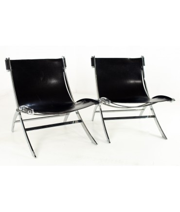 Paul Tuttle for Flexform Mid Century Black Leather and Chrome Lounge Chairs - Pair