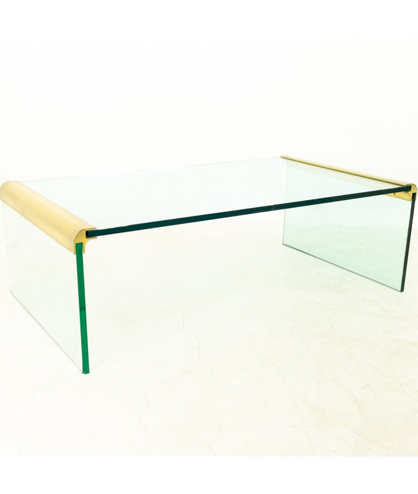 Leon Rosen For Pace Mid Century Brass And Glass Coffee Table