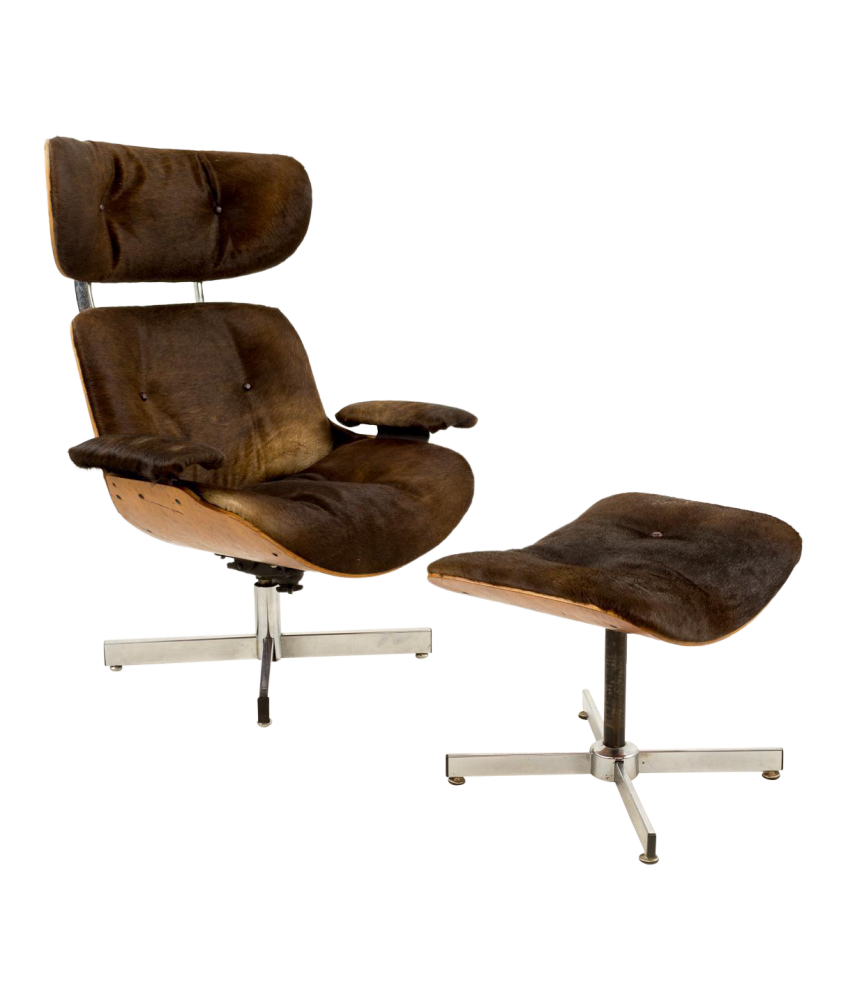 Plycraft Lounge Chair and Ottoman in Cowhide