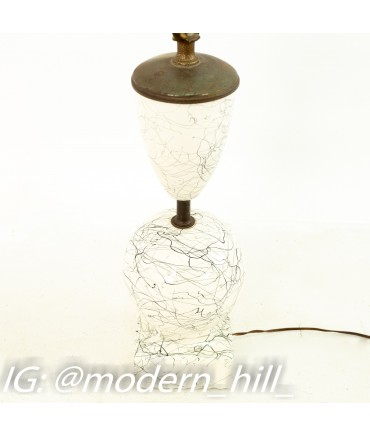 Mid Century Black and White Pottery Lamp