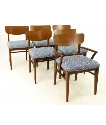Stanley Furniture Mid Century Walnut Dining Chairs - Set of 6