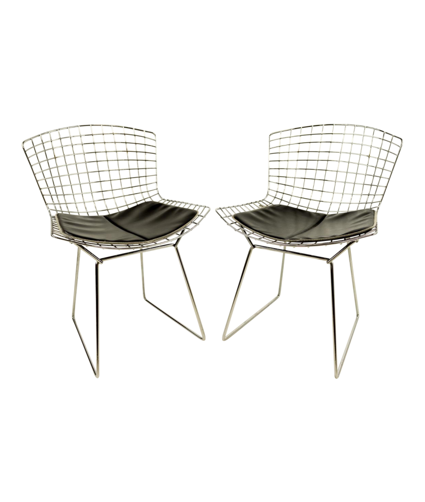 Bertoia Dining Chairs with Black Pads