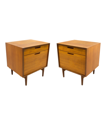 Kofod Larsen for Selig Danish Teak Mid Century Modern Nightstands