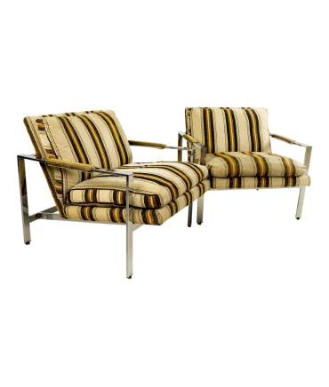 Milo Baughman for Thayer Coggin Chrome Flatbar Lounge Chairs