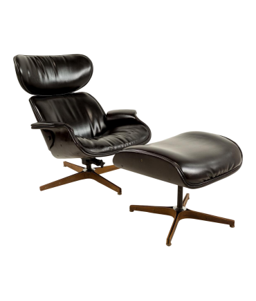 Mister Lounge Chair U0026 Ottoman By George Mulhauser For Plycraft In Black  Naugahyde