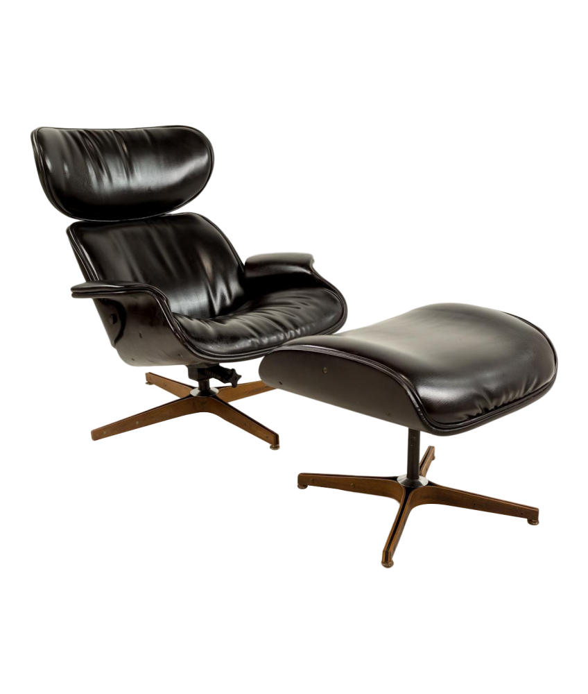 Mister Lounge Chair and Ottoman by George Mulhauser for Plycraft in Black Naugahyde