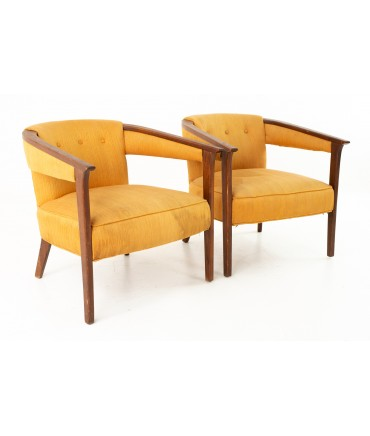 Marden Mid Century Barrel Occasional Lounge Chairs - Pair