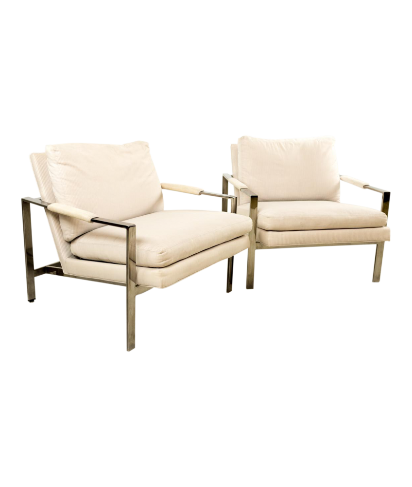 Milo Baughman Chrome Flatbar Lounge Chairs