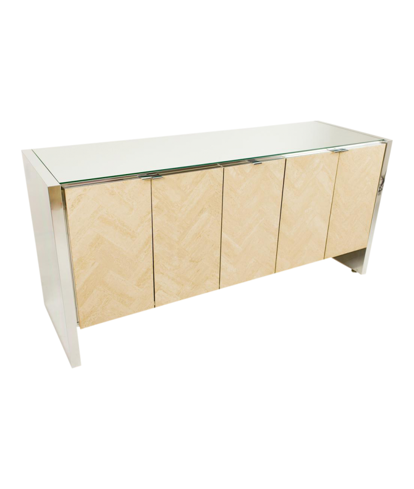 Ello Herringbone Travertine Chrome and Glass Sideboard Credenza