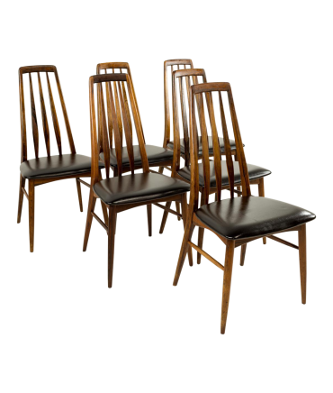 Niels Koefoeds Hornslet Rosewood Eva Dining Chairs Set of 6