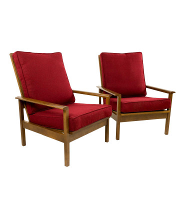 Mid-Century High Back Lounge Chairs