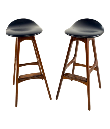 Erik Buck Mid Century Modern Rosewood Bar Stools - Set of 2