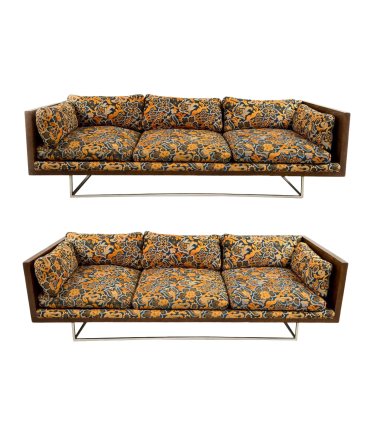 Milo Baughman for Thayer Coggin Burlwood Case Sofas - Matching Pair