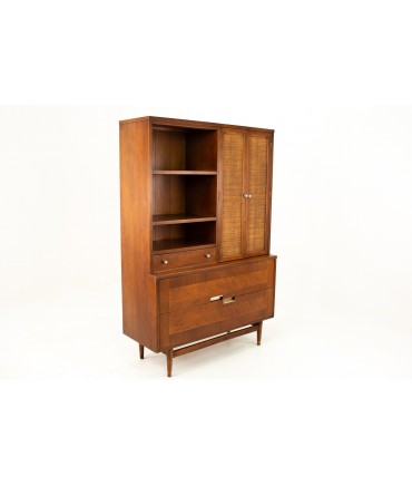 Merton Gershun for American of Martinsville Mid Century 2 Piece Walnut and Rattan China Cabinet Display Shelving