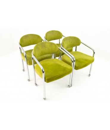 Mid Century Chrome Craft Dining Chairs in Green