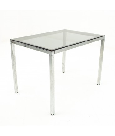 Milo Baughman Style Mid Century Smoked Glass Side Table