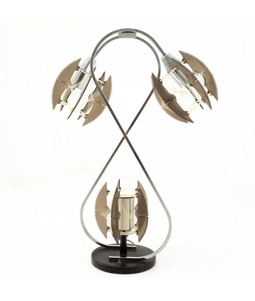Paul Secon for Sompex Mid Century String and Chrome Lamp