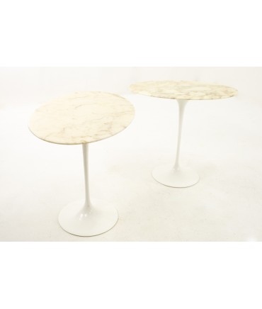 Knoll Mid Century Oval Marble Top Side End Tables with Tulip Base - Pair