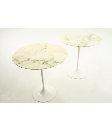 Knoll Mid Century Round Marble Top Side End Tables with Tulip Base - Pair
