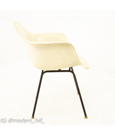 Early Herman Miller Mid Century White Shell Chairs - Pair