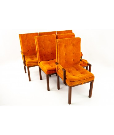 Milo Baughman Style Dillingham Mid Century Orange and Walnut Upholstered Dining Chairs