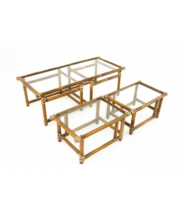 McGuire of California Mid Century Bamboo and Glass Nesting Coffee and Side Tables - Set of 3