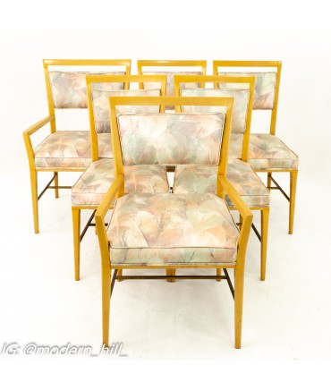 Paul McCobb Mid Century Blonde Upholstered Dining Chairs - Set of 6