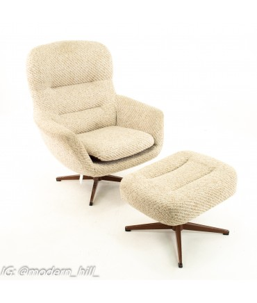 Mid Century Upholstered Swivel Lounge Chairs with One Ottoman in Tan - Pair