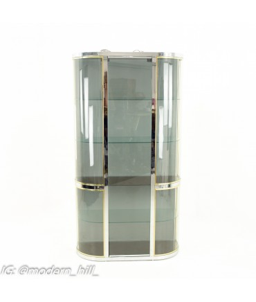 Pace Mid Century Brass Curved Glass Display Shelving
