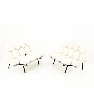 George Nelson For Herman Miller Style Mid Century Marshmallow Sofa White - Pair
