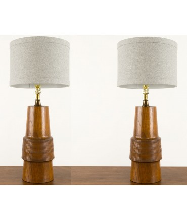 Mid-Century Wood Lamps - Matching Pair