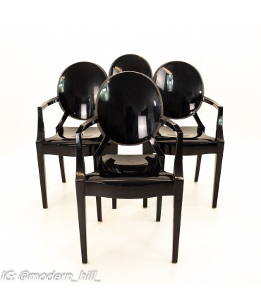 Kartell Mid Century Black Acrylic Ghost Dining Chairs - Set of 4