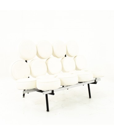 George Nelson For Herman Miller Style Mid Century Marshmallow Sofa White