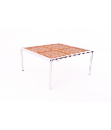 Milo Baughman Mid Century Cane and Chrome Glass Top Coffee Table