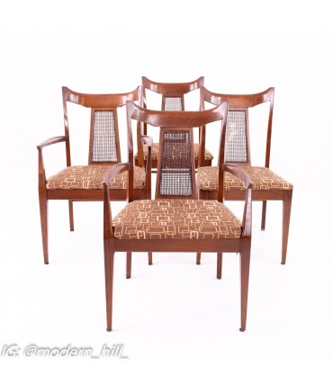 Jack Lenor Larsen Style Mid Century Walnut And Cane Upholstered Dining Chairs - Set of 4