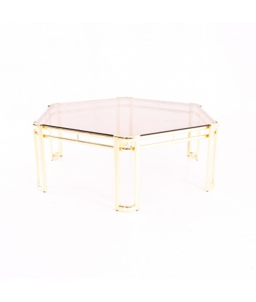 Morex Mid Century Octagonal Smoked Glass and Brass Coffee Table