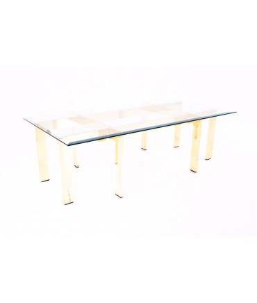 Mid Century Rectangular Glass and Brass Coffee Table