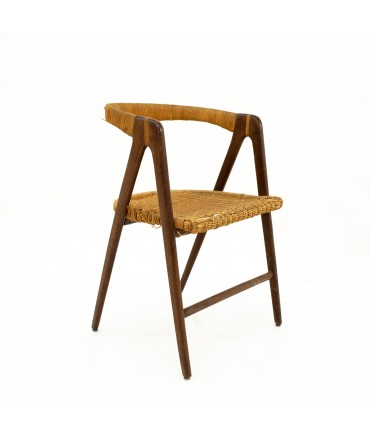 Mid Century Cane Curved Back Side Chair
