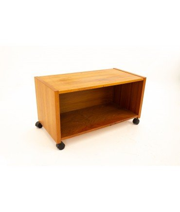 Mid Century Teak Rolling Record Storage Media Console