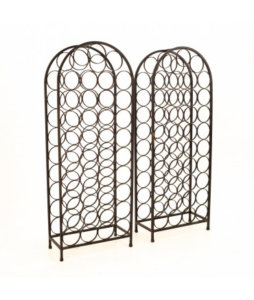 Arthur Umanoff Mid Century 39 Bottle Wrought Iron Wine Rack - Pair
