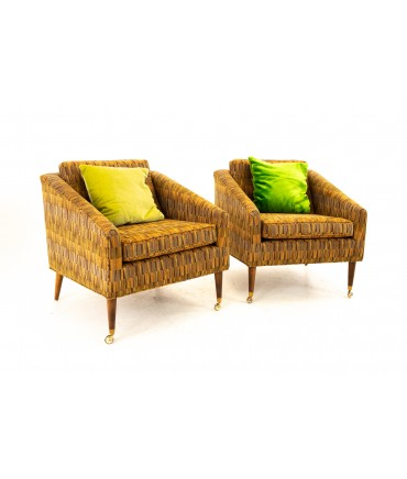 Milo Baughman Style Mid Century Upholstered Lounge Chairs - Pair
