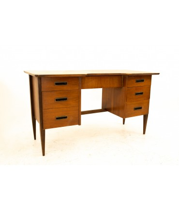 Mid Century Walnut Double File Kneehole Desk