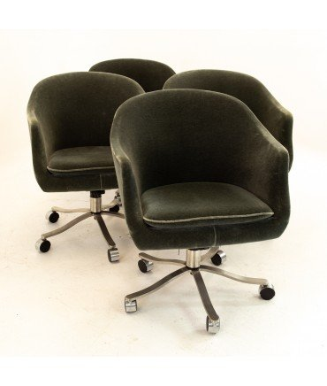 Signed Nicos Zographos Mohair Mid Century Armchairs - Set of 4