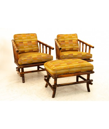 McGuire Style Mid Century Bamboo Lounge Chairs with Ottoman - Pair