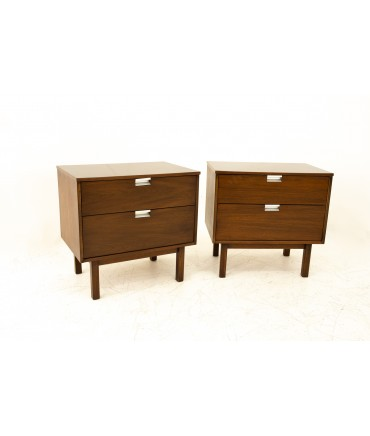 George Nelson Style Basset Mid Century 2 Drawer Walnut & Stainless Steel Nightstands - Pair