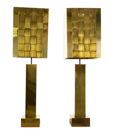 Curtis Jere Brass Lamps - Matching Pair