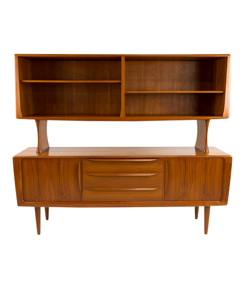 Danish Teak Sideboard and Hutch with tambour doors attributed to H.P. Hansen  sc 1 st  Modern Hill Furniture & Danish Teak Sideboard and Hutch with tambour doors attributed to ...