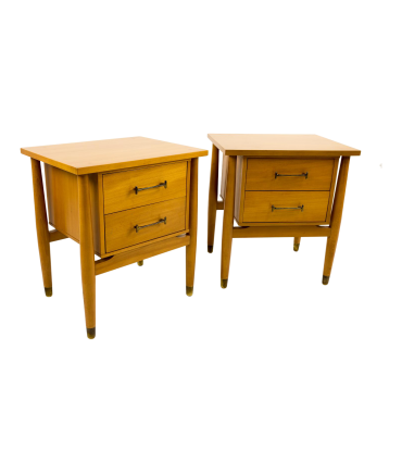 Milo Baughman for Drexel Blonde Nightstands - Pair