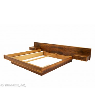 Mid Century Rosewood  King Headboard with Floating Nightstands